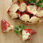 Red Peppers Stuffed with Cream Cheese (in oil)