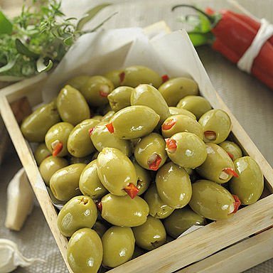 Green Olives Stuffed with Red Pepper & Garlic - 01