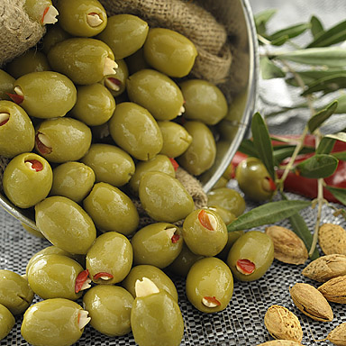Green Olives Stuffed with Red Pepper & Almonds - 01