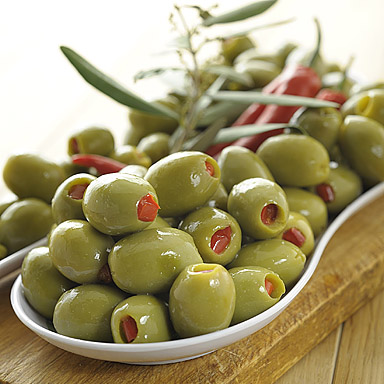 Green Olives Stuffed with Red Peppers - 01