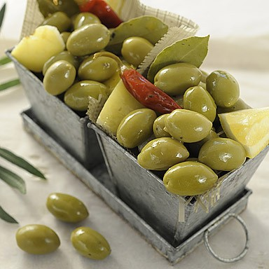 Green Pitted Olives with Lemon & Chilli