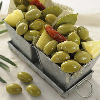 Green Pitted Olives with Lemon & Chilli - 01