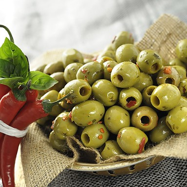 Green Pitted Olives with Chilli