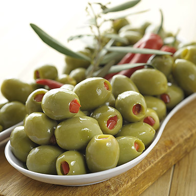 Organic Green Olives Stuffed with Red Peppers - 01
