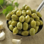 Organic Green Olives Stuffed with Garlic