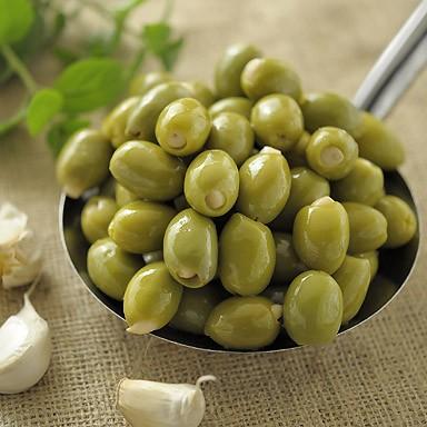 Organic Green Olives Stuffed with Garlic