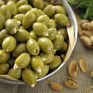Organic Green Olives Stuffed with Almonds - 01